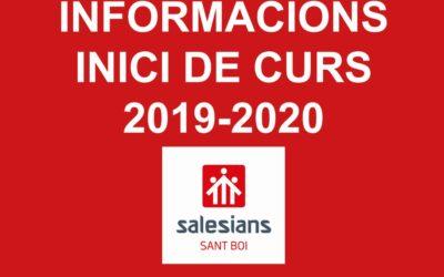 Informacions Inici de Curs 2019-2020
